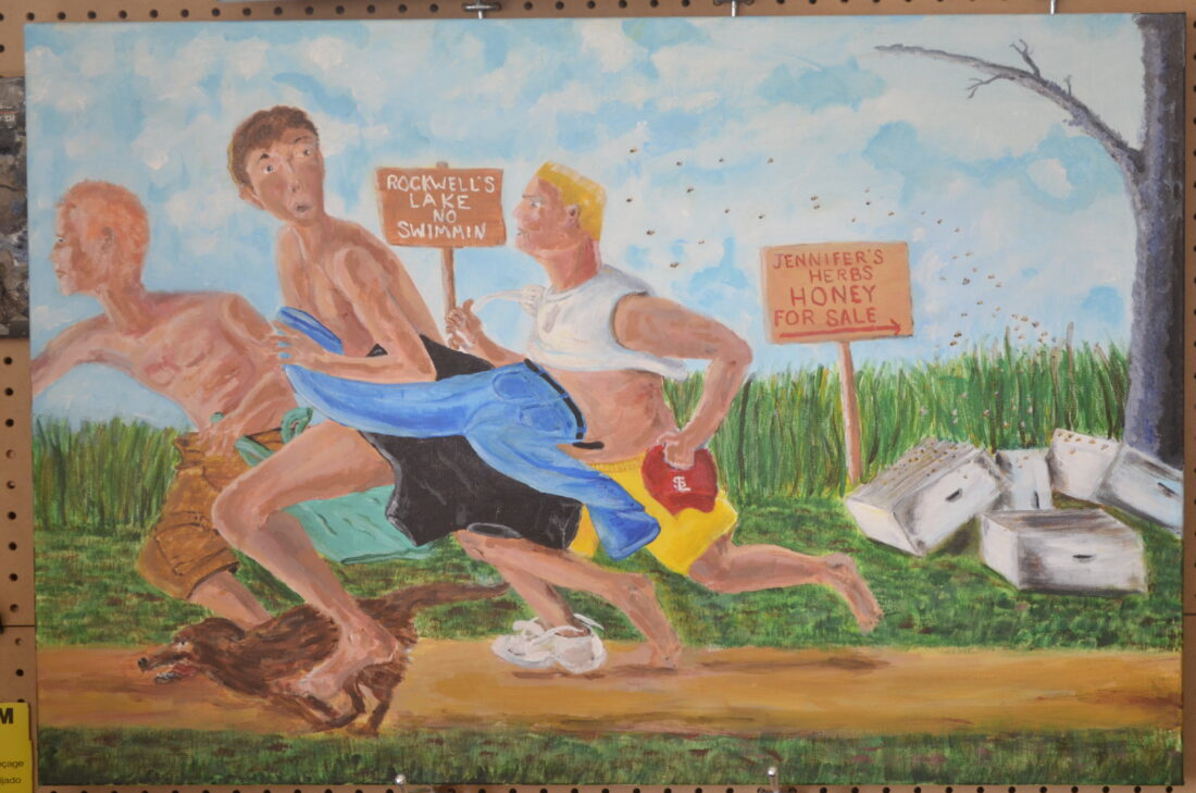 """Painting of young boys running from bees by Indiana portrait artist Michael Kent Owens 24″ x 36"""" Acrylic on Canvas"""