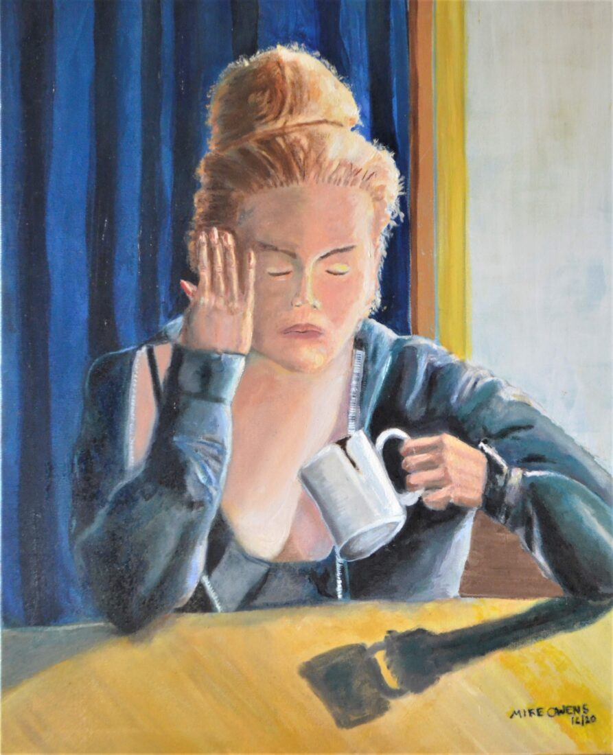 """Oil Painting of girl with hangover drinking coffee by Indiana realist artist Michael Kent Owens """"MONDAY"""" 2020 24″ X 30″ Oil on Canvas"""