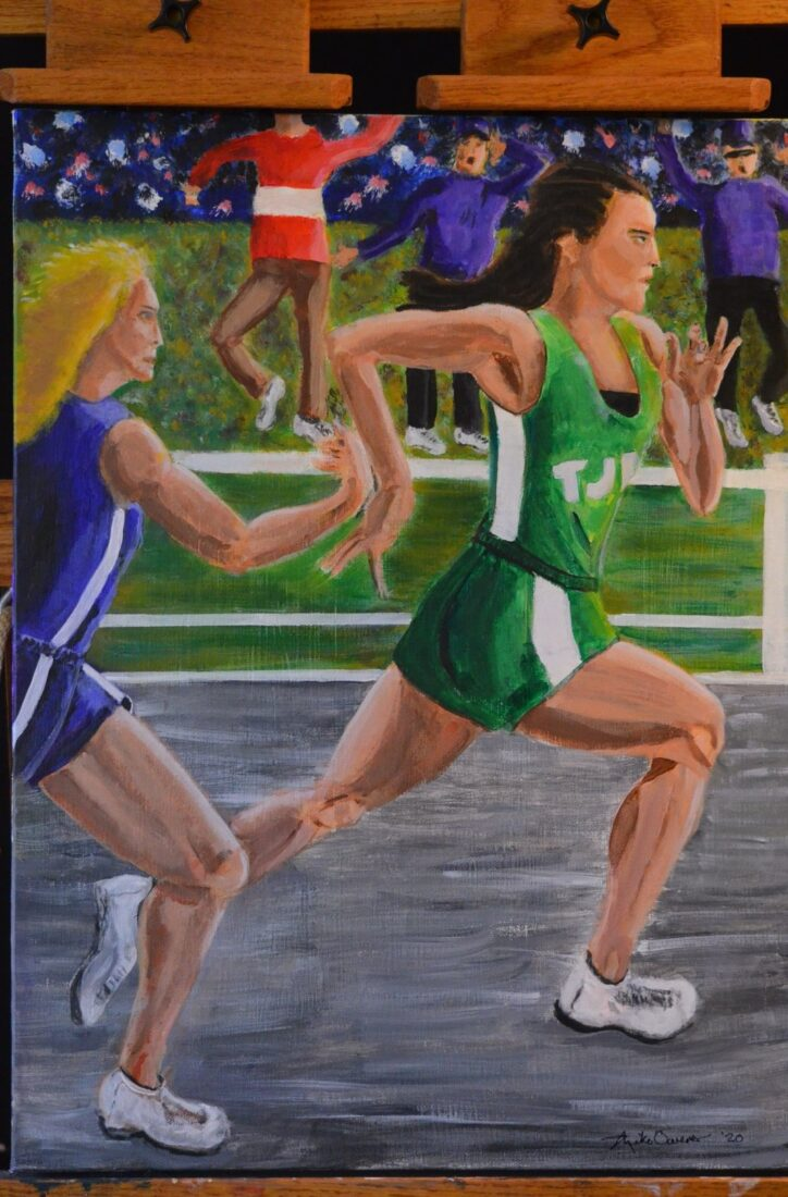 """Acrylic Painting of two young girls running in a race by Indiana artist Michael Kent Owens Title-""""The Rivalry"""" 18"""" x 24"""" Acrylic on canvas"""