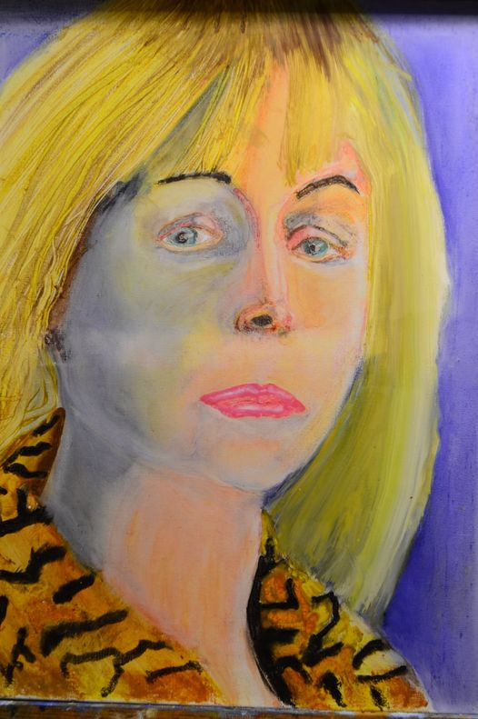 """Crayola Painting of woman by Indiana artist MICHAEL KENT OWENS Title-""""LINDA"""" 2021 Crayola crayon on linen 18"""" x 24"""""""