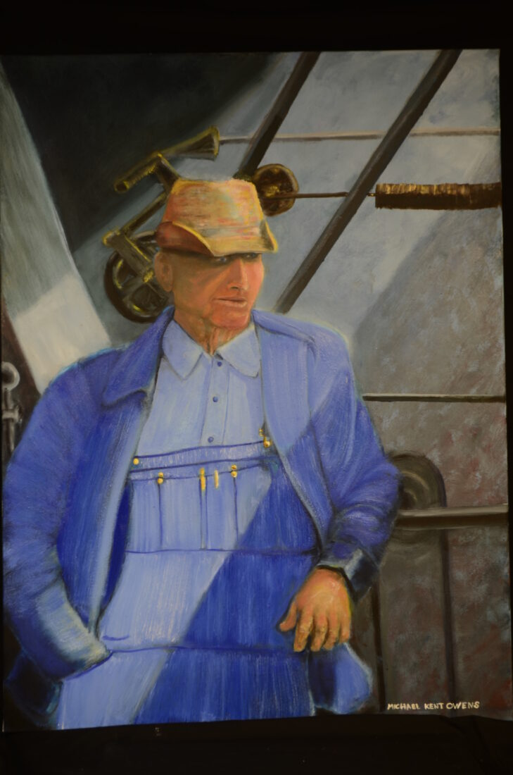 """oiI painting by Indiana portrait artist Michael Kent Owens Title-""""American Pawpaw"""" 30″ x 40"""" Oil on Canvas"""