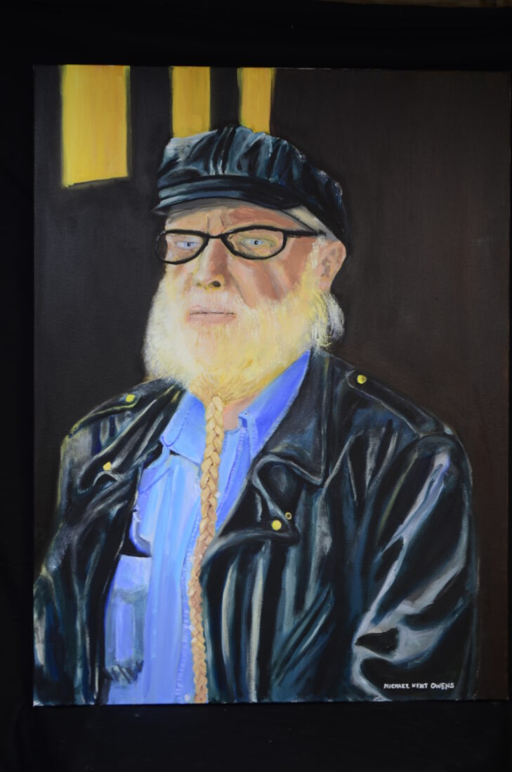 """Oil painting of biker by Indiana portrait artist Michael Kent Owens, title-""""Whitey Petty at the Black Cat Barn"""" 2021 30"""" x 40"""" Oil on Canvas"""