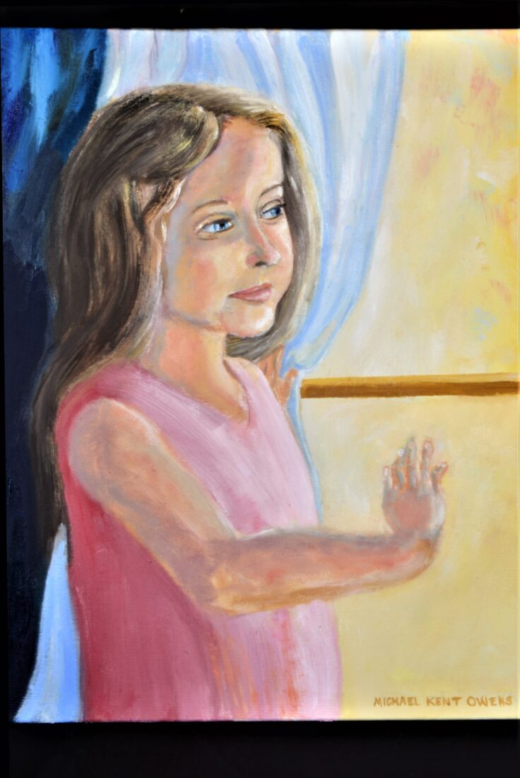 """Oil Painting of young girl looking out a window by Indiana figurative artist MICHAEL KENT OWENS Title """"ANTICIPATING"""" 16"""" x 20"""" Oil on Canvas"""